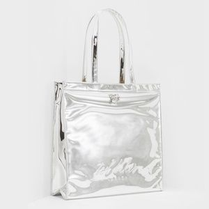 TED BAKER Large Icon Tote Jencon Mirrored Silver